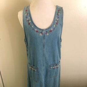 Denim jumper maxi dress size medium